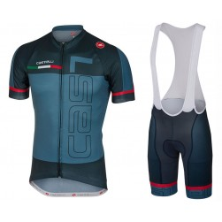 2017 Casteli Spunto Blue Cycling Jersey And Bib Shorts Set