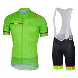 2017 Casteli Spunto Green Cycling Jersey And Bib Shorts Set