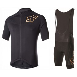 2017 Team FOX Black-Gold Cycling Jersey And Bib Shorts Set