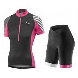 2017 Liv Pro Women's Black-Pink Cycling Jersey And Bib Shorts Set