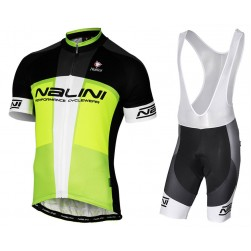 2017 Nalini PRO Artico Black-Green Cycling Jersey And Bib Shorts Set