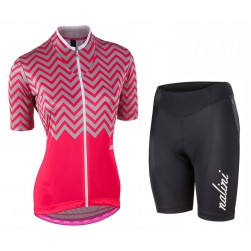 2017 Nalini PRO Wave Women's Pink Cycling Jersey And Shorts Set