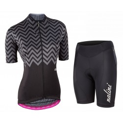 2017 Nalini PRO Wave Women's Black Cycling Jersey And Shorts Set