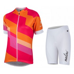 2017 Nalini PRO Stripe Women's Orange Cycling Jersey And Shorts Set