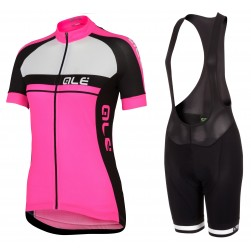 2016 Ale Plus Women Pink Cycling Jersey And Bib Shorts Set