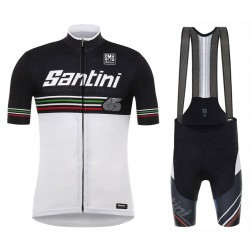 2017 Santini Beat 3.0 White Cycling Jersey And Bib Shorts Set