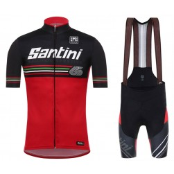 2017 Santini Beat 3.0 Red Cycling Jersey And Bib Shorts Set