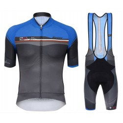 2017 Santini Sleek Plus 1.0 Blue-Black Cycling Jersey And Bib Shorts Set