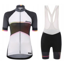 2017 Santini Stella Women's White Cycling Jersey And Bib Shorts Set