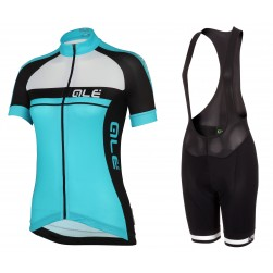 2016 Ale Plus Women Blue Cycling Jersey And Bib Shorts Set