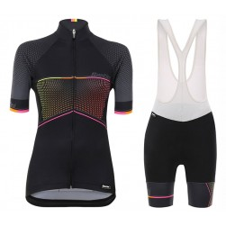 2017 Santini Stella Women's Black Cycling Jersey And Bib Shorts Set