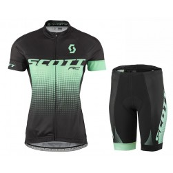 2017 Scott RC Women's Black-Green Cycling Jersey And Shorts Set