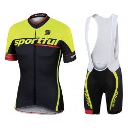 2017 Sportful SC Team Yellow Cycling Jersey And Bib Shorts Set