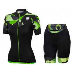2017 Sportful Primavera Women's Green Cycling Jersey And Shorts Set
