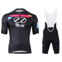 2017 Team 8bar Black Cycling Jersey And Bib Shorts Set