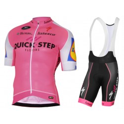 2017 Quick-Step Floors Pink Cycling Jersey And Bib Shorts Set