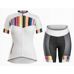 2016 Bontrager Anara Women White And Color Stripes Jersey And Regular Shorts Set