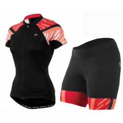 2016 Pearl Izumi Elite Black-Orange Women Cycling Jersey And Bib Shorts Set