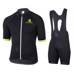 2017 Etxeondo Entzun Black-Yellow Cycling Jersey And Bib Shorts Set