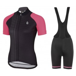 2017 Etxeondo Nero Black-Pink Cycling Jersey And Bib Shorts Set