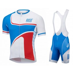 2016 Rose Retro Blue-White Jersey And Bib Shorts Set