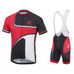 2016 Rose Retro Black-Red Jersey And Bib Shorts Set
