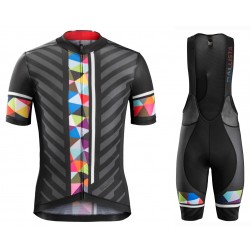 2016 Bontrager Ballista Black-Colorful Stripe Cycling Jersey And Bib Shorts Set