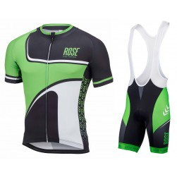 2016 Rose Retro Black-Green Jersey And Bib Shorts Set