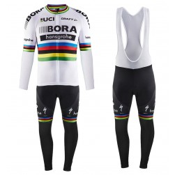 2017 Team Bora Hansgrohe World Champion Long Sleeve Cycling Jersey And Bib Pants Set
