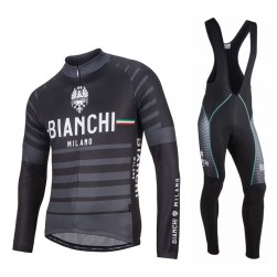 2017 Bianchi Albatros Black Long Sleeve Cycling Jersey And Bib Pants Set