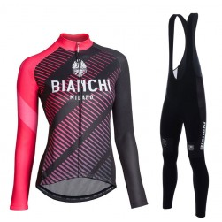 2017 Bianchi Catria Black-Pink Women Long Sleeve Cycling Jersey And Bib Pants Set