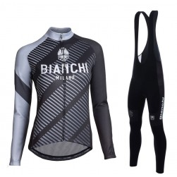 2017 Bianchi Catria Black-Grey Women Long Sleeve Cycling Jersey And Bib Pants Set