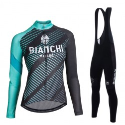 2017 Bianchi Catria Black-Green Women Long Sleeve Cycling Jersey And Bib Pants Set