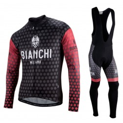 2017 Bianchi Petreso Black-Red Long Sleeve Cycling Jersey And Bib Pants Set