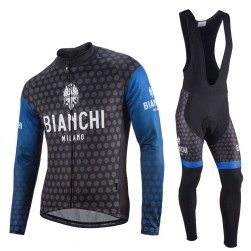 2017 Bianchi Petreso Black-Blue Long Sleeve Cycling Jersey And Bib Pants Set