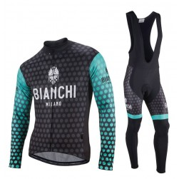 2017 Bianchi Petreso Black-Green Long Sleeve Cycling Jersey And Bib Pants Set