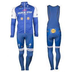 2017 Quick-Step Floors Long Sleeve Cycling Jersey And Bib Pants Set