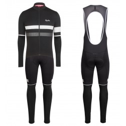 f2522c50d 2017 Rapha Brevet Black-White Long Sleeve Cycling Jersey And Bib Pants Set