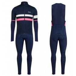 2017 Rapha Brevet Blue-Pink Long Sleeve Cycling Jersey And Bib Pants Set