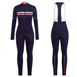 2017 Rapha Brevet Blue-Pink Women Long Sleeve Cycling Jersey And Bib Pants Set