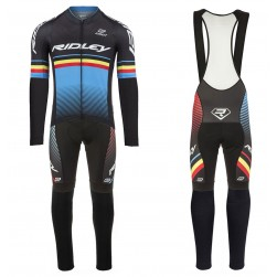 2017 Ridley Rincon Black-Blue Long Sleeve Cycling Jersey And Bib Pants Set