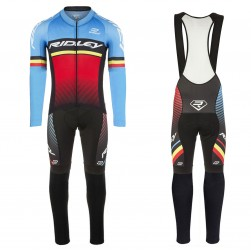 2017 Ridley Rincon Blue-Red Long Sleeve Cycling Jersey And Bib Pants Set