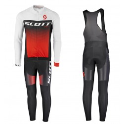 2017 Scott RC White-Black-Red Long Sleeve Cycling Jersey And Bib Pants Set