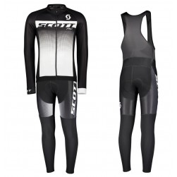 2017 Scott RC Black-White Long Sleeve Cycling Jersey And Bib Pants Set