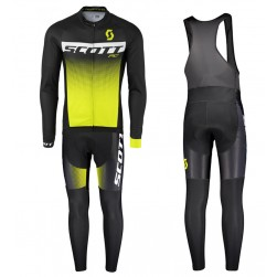2017 Scott RC Black-Yellow Long Sleeve Cycling Jersey And Bib Pants Set