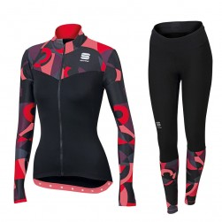 2017 Spоrtful Primavera Red Women Long Sleeve Cycling Jersey And Pants Set