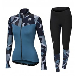 2017 Spоrtful Primavera Blue Women Long Sleeve Cycling Jersey And Pants Set