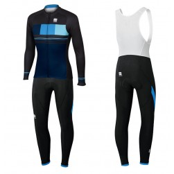 2017 Spоrtful Stripe Blue Long Sleeve Cycling Jersey And Bib Pants Set