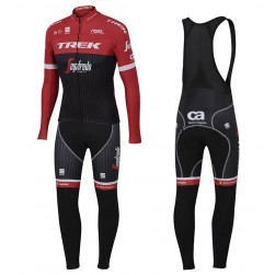 2017 Trek Pro Race Red Long Sleeve Cycling Jersey And Bib Pants Set