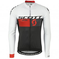 2016 Scott RC White-Black-Red Cycling Long Sleeve Jersey